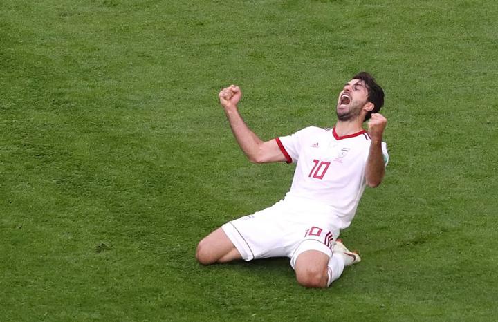 Karim Ansarifard ăn mừng bàn thắng vào lưới Bồ Đào Nha tại World Cup 2018. Ảnh: FIFA