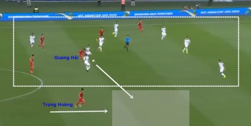Quang Hải hút hết các cầu thủ đối phương, để Trọng Hoàng có điều kiện dâng lên.