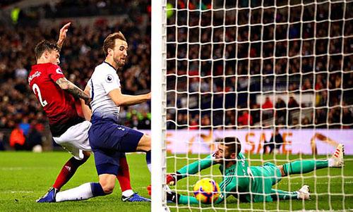 Kane đưa được bóng vào lưới Man Utd phút 31 nhưng không được công nhận do lỗi việt vị. Ảnh: DM.