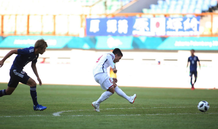 Quang Hải dứt điểm, ghi bàn duy nhất giúp Olympic Việt Nam đánh bại Olympic Nhật Bản tại Asiad 2018 vào ngày 19/8. Ảnh: Lâm Thỏa