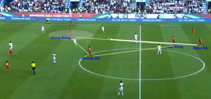 [Caption]Hùng Dũng chơi cao nhất trong số 3 tiền vệ, ở vị trí Quang Hải hay chơi