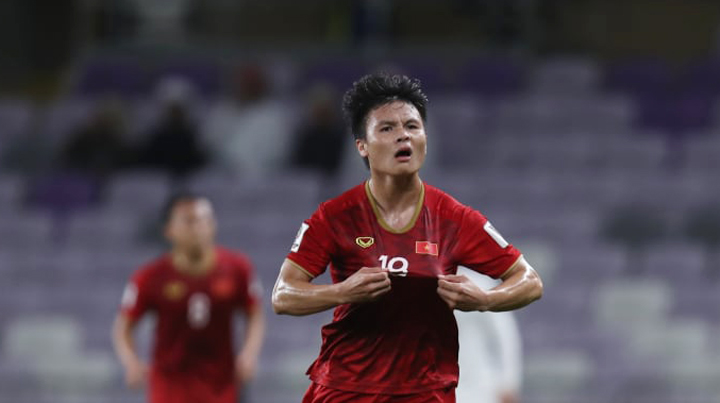 Quang Hải mừng bàn thắng mở tỷ số, góp phần giúp Việt Nam giành chiến thắng 2-0 trước Yemen. Ảnh: AFC.