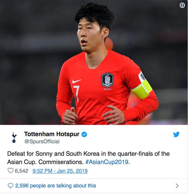Thông báo trên trang Twitter của Tottenham về thất bại của Hàn Quốc.