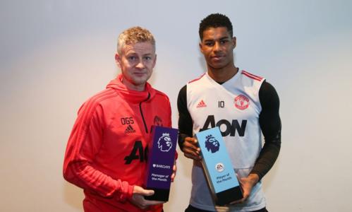 Solskjaer (trái) và Marcus Rashford giúp Man Utd nhận cú đúp danh hiệu cá nhân tháng 1/2019. Ảnh: EPL.