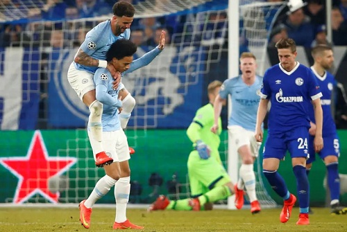 Sane không chia vui cùng đồng đội sau khi sút tung lưới đội bóng cũ. Ảnh: Reuters.