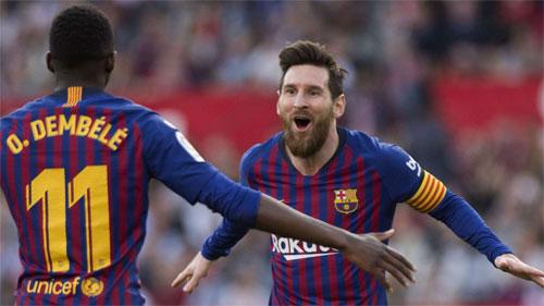 Sevilla không thể ngăn những pha bóng sắc bén của Barca.