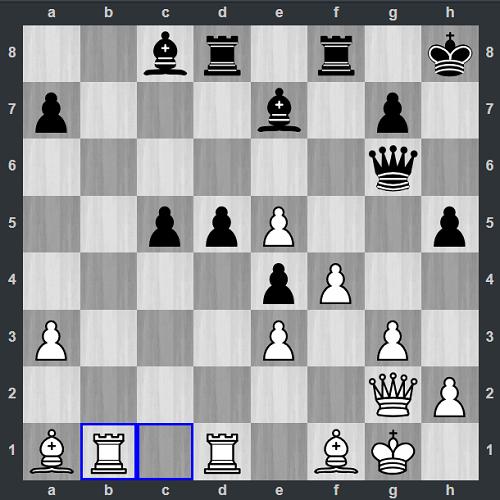 Thế cờ sau 28.Rb1. Box tính sót nước khi thời gian gần cạn. Trắng muốn chiếm cột mở b, nhưng vô tình bỏ lỡ ô c5. Quang Liêm không ngại thí tốt bằng cách đẩy d5-d4. Sau khi đổi tốt, Đen có thể nhảy tượng lên c5 ghim xe trắng.