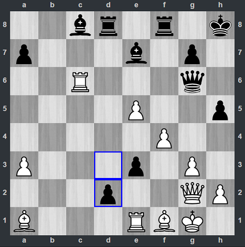 Thế cờ sau 32...d2. Quang Liêm thí Hậu khá thú vị. Dĩ nhiên Trắng không thể bắt Hậu, vì Đen sẽ ăn xe ở e1 và phong Hậu mới. Đến đây Box rơi vào thế thua hoàn toàn, nhưng vẫn cố gắng đánh tiếp chờ sai lầm của Quang Liêm.