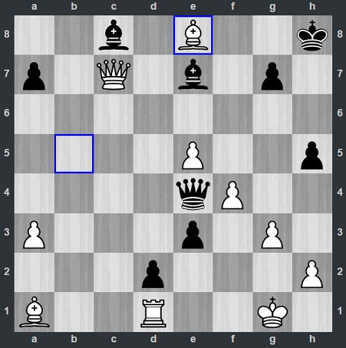 Trắng vừa ănxe với 38.Bxe8. Nhưng đó là vì Quang Liêm chấp nhận thí xe. Bằng cách đó, Đen có thể đẩy tốt xuống e7. Với cặp tốt ở d7 và e7, Quang Liêm buộc đối thủ phải đầu hàng ngay.