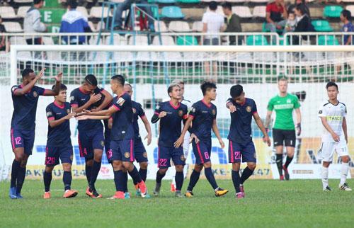 Sài Gòn giành chiến thắng thứ hai liên tiếp ở V-League. Ảnh: Đức Đồng.