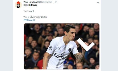 Gửi Di Maria, hãy nhận lấy thất bại đi, một CĐV Man Utd chia sẻ. Ảnh: Twitter.