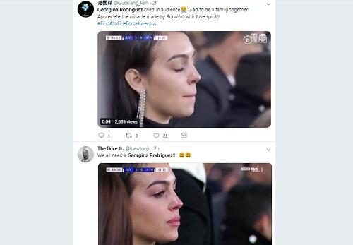 Hình ảnh Georgina khóc được nhiều người chia sẻ trên mạng xã hội. Ảnh chụp màn hình.