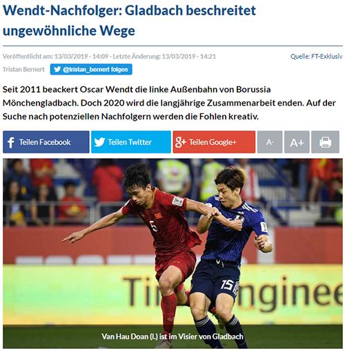 Fussballtransfers đưa tin Gladbach quan tâm đến Văn Hậu. Ảnh chụp màn hình.