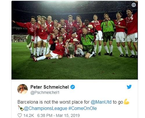 Schmeichel cho rằng sân Nou Camp là mảnh đất lành với Man Utd. Ảnh chụp màn hình.