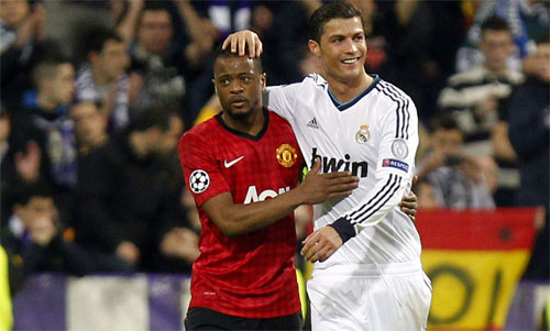 Evra và Ronaldo từng là đồng đội tại Man Utd, và cũng từng có dịp đối đầu với nhau. Ảnh: Reuters