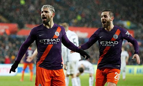 Aguero và Bernardo Silva góp công lớn vào chiến thắng của Man City. Ảnh: Reuters.