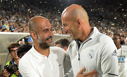Zidane còn nhiều thời gian để vượt qua Guardiola. Ảnh: Reuters
