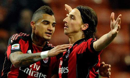 Boateng (trái) thuở sát cánh với Ibrahimovic trong màu áo Milan. Ảnh: Reuters.