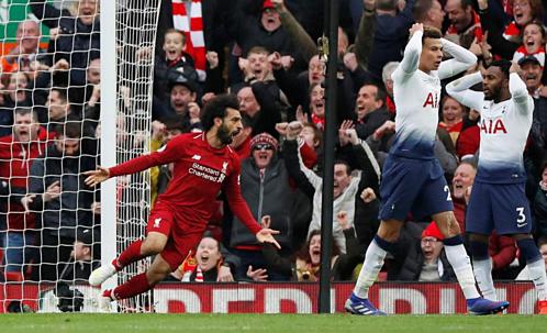 Salah gián tiếp mang về bàn thắng quyết định ở trận gần nhất với Tottenham. Ảnh:AFP.