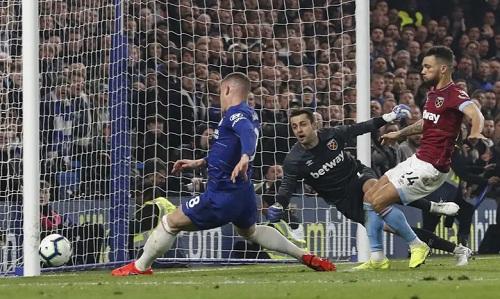 West Ham bị ép và không có bất kỳ pha dứt điểm trúng đích nào đáng chú ý. Ảnh: Reuters.
