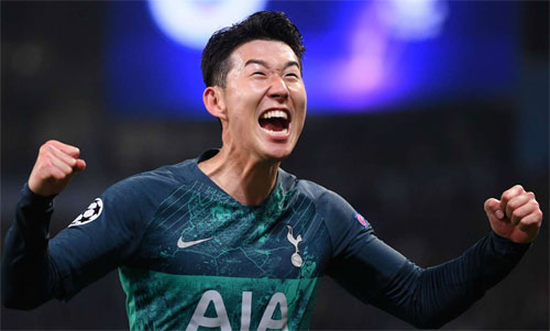 Son Heung Min góp hai bàn trong trận lượt về và ba bàn trong hai lượt cho Tottenham. Ảnh: Reuters
