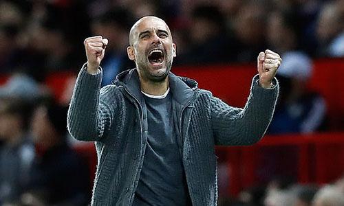 Guardiola tiến gần đến cú ăn ba quốc nội trong mùa 2018-2019. Ảnh: PA.