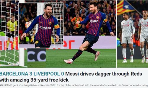 Tờ Sun ngả mũ trước màn thể hiện của Messi. Ảnh chụp màn hình.