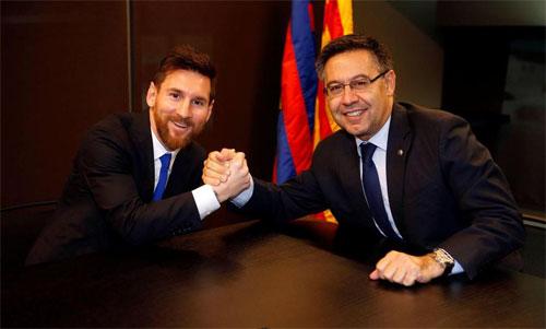 Bartomeu hết lời ca ngợi Messi. Ảnh: FCB