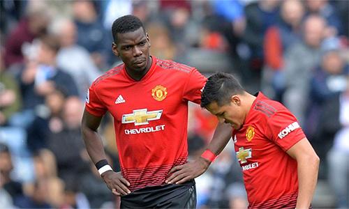 Pogba (phải) đánh mất phong độ trong giai đoạn cuối mùa, ảnh hưởng đến kết quả thi đấu của Man Utd. Ảnh: Reuters.