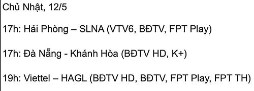 Lịch thi đấu ba trận còn lại của vòng 9 V-League 2019