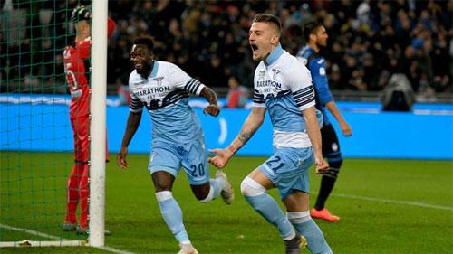 Milinkovic-Savic mở ra chiến thắng cho Lazio. Ảnh: Reuters