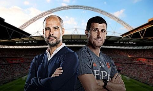 Guardiola và Gracia sẽ có màn so tài trên sân Wembley. Ảnh: Sky Sports.