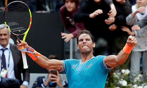 Nadal trở thành tay vợt nhiều danh hiệu nhất lịch sử Masters. Với 34 chức vô địch, anhvượt qua Djokovic. Ảnh: AP.