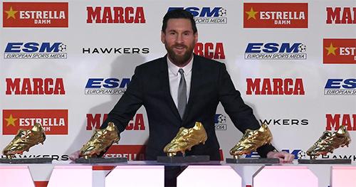 Messi sẽ bổ sung chiếc Giày Vàng thứ sáu vào bộ sưu tập trong buổi lễ củanhà tổ chức giải thưởng vào cuối năm.