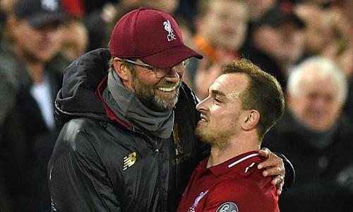 Shaqiri (phải) gia nhập Liverpool từ hè 2018. Ảnh: Reuters