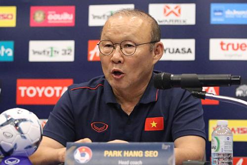 HLV Park Hang-seo chia sẻ về lực lượng trước trận chung kết. Ảnh:Đức Đồng.