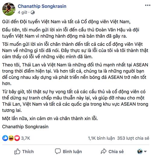 Tâm thư của Messi Thái viết hoàn toàn bằng tiếng Việt. Ảnh chụp màn hình.