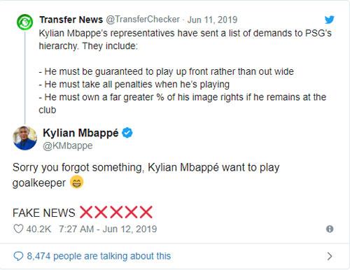Mbappe vạch mặt tin giả trên Twitter - 1