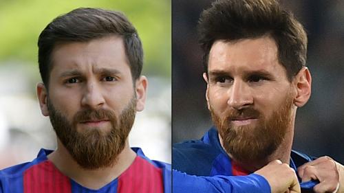Messi giả (trái) và phiên bản thật.