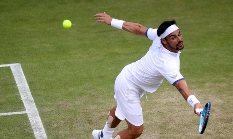 Fognini thua đối thủ kém bản thân 84 bậc trên bảng điểm ATP. Ảnh: Reuters.