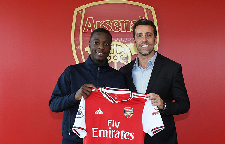 Pepe (trái) là cầu thủ đắt giá nhất lịch sử Arsenal, với phí chuyển nhượng 87 triệu USD.