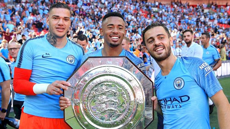 Man City đang giữ danh hiệu Siêu cup Anh khi đánh bại Chelsea mùa trước. Ảnh:AFP.