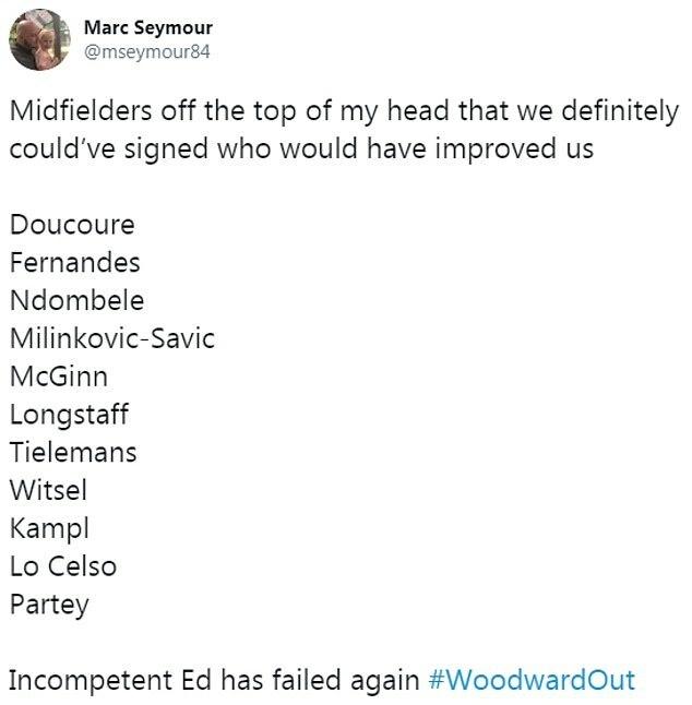 CĐV @mseymour84 liệt kê một loạt mục tiêu chuyển nhượng ngày cuối của Man Utd, nhưng không có hợp đồng nào được chốt.