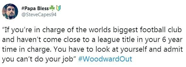 CĐV @SteveCapes94 viết: Nếu làm việc ở đội bóng lớn bậc nhất thế giới mà không thể cạnh tranh chức vô địch quốc gia suốt 6 năm, bạn cần nhìn lại bản thân và thừa nhận sự thật là không thể làm công việc ấy.