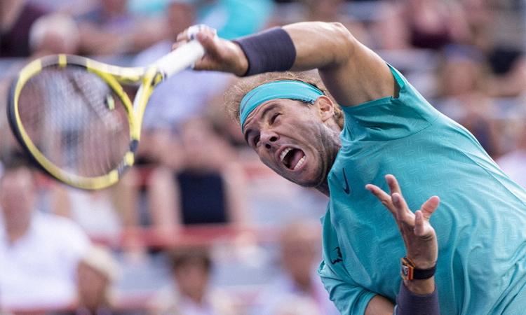 Nadal thắng trận thứ 36 tại ATP Rogers Cup, nơi anh từng bốn lần vô địch. Ảnh: AP.