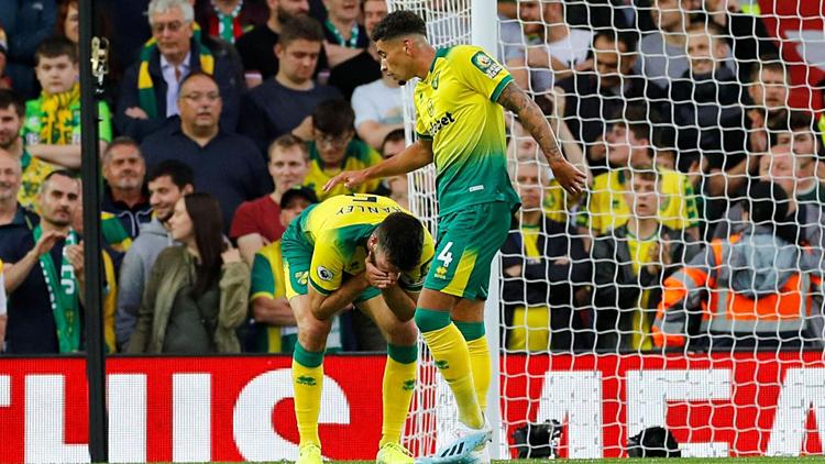 Đội trưởng Hanley (ôm mặt) phản lưới khiến Norwich chơi bị động trong hiệp một. Ảnh:Premier League.