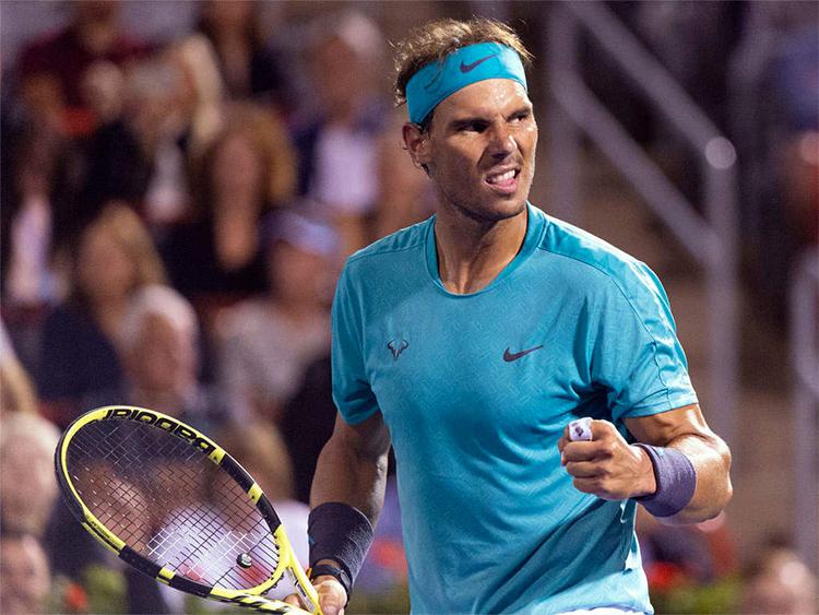 Nadal gặp khó khăn ở đầu trận, nhưng dần hoá giải được Fognini để tiến đến thắng lợi thứ 40 ở mùa giải 2019. Ảnh: APT.