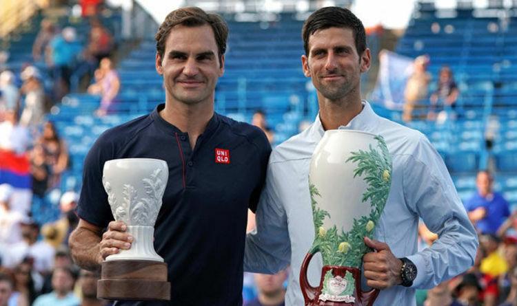 Djokovic (phải) và Federer sẽ sớm phải loại nhau ở bán kết Cincinnati Masters2019. Ảnh: AFP