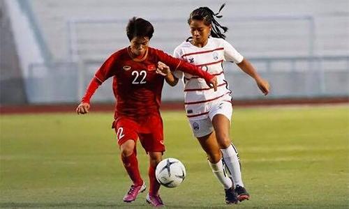Nữ Việt Nam chơi áp đảo và sớm định đoạt số phận trận đấu chỉ sau 24 phút đầu. Ảnh: VFF.