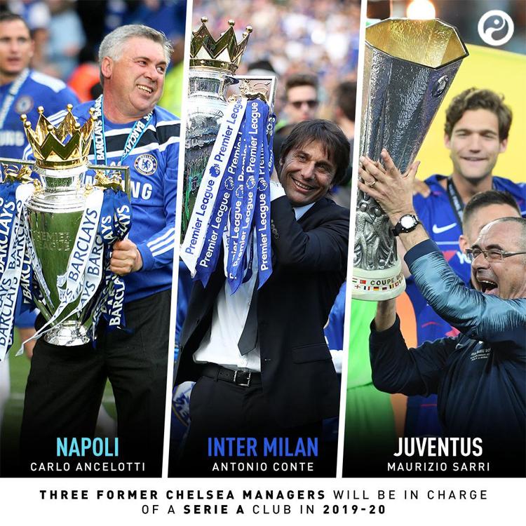 Cuộc đấu trí giữa Sarri, Ancelotti và Conte - ba HLV từng cùng thành danh ở Ngoại hạng Anh với Chelsea - hứa hẹn sẽ thắp sáng Serie A mùa mới.